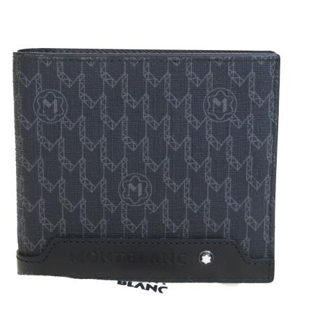 【中古】 超美品 モンブラン MONTBLANC 二つ折り 財布 ブラック PVC レザー 保存袋付き 01HD579