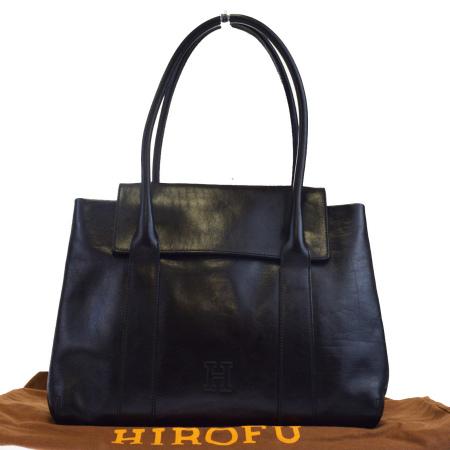 送料無料 【中古】 ヒロフ HIROFU ショルダーバッグ ブラック レザー 保存袋付き 04EJ473
