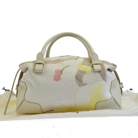 【中古】 美品 サルバトーレフェラガモ Salvatore Ferragamo ハンドバッグ ホワイト キャンバス レザー 保存袋付き 05EJ323
