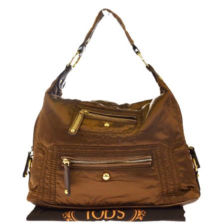 【中古】 外美品 トッズ TOD'S ショルダーバッグ ブロンズ ナイロン レザー 保存袋付き 04EJ393