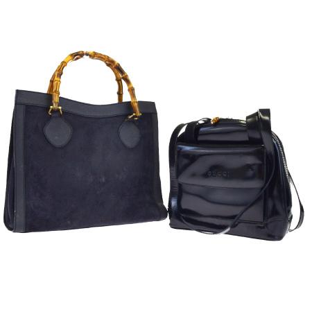 89363814f958 Two points of set Gucci GUCCI bamboo handbag shoulder bag black leather  suede 08EJ267