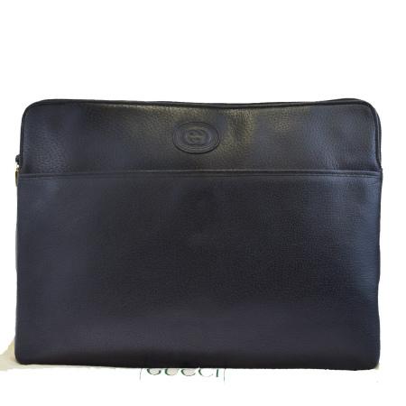 【中古】 外美品 グッチ GUCCI クラッチバッグ 書類ケース インターロッキング ブラック レザー 保存袋付き 61EJ448