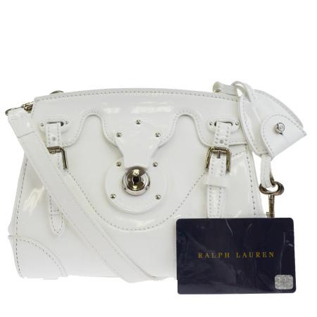 【中古】 中美品 ラルフローレン RALPH LAUREN ミニリッキー ショルダーバッグ ホワイト エナメル 34EJ330