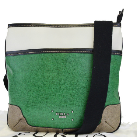 送料無料 【中古】 フルラ FURLA 斜め掛け ショルダーバッグ グリーン ホワイト ブラウン ブラック レザー メンズ 保存袋付き 02EJ625