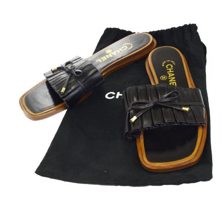 【中古】 美品 シャネル CHANEL サンダル 靴 ブラック ブラウン レザー レディース 36.5 23.5cm 保存袋付き 30EK143