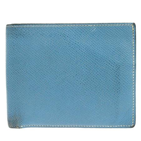 【中古】 エルメス HERMES 二つ折り 財布 ライトブルー レザー □M刻印 08EK040