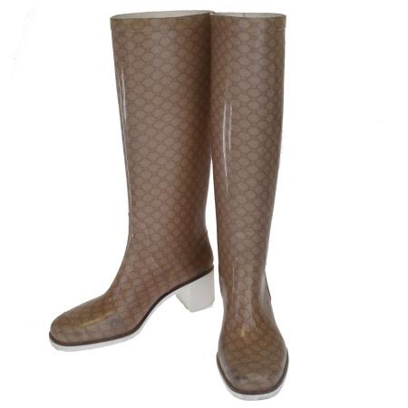 【中古】 セリーヌ CELINE レインブーツ 長靴 マカダム ベージュ ラバー レディース 38 25-25.5cm 08EK088
