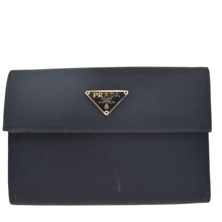 送料無料 【中古】 中美品 プラダ PRADA 三つ折り 財布 ブラック ナイロン レザー 04EK052