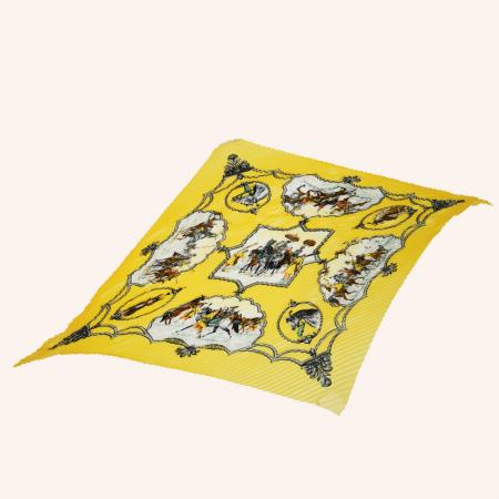 【中古】 超美品 エルメス HERMES プリーツ スカーフ LES CHEVAUX DES MOGHOLS ムガル王朝の馬 イエロー シルク 100% 66EJ969