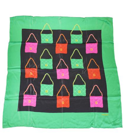 送料無料 【中古】 美品 シャネル CHANEL 大判 スカーフ バッグ柄 ブラック グリーン シルク 100% 60EJ970
