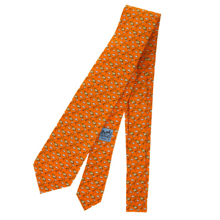 送料無料 【中古】 超美品 エルメス HERMES ネクタイ ペリカン柄 オレンジ シルク 100% メンズ 07EK031