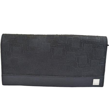 送料無料 【中古】 美品 ダンヒル dunhill ディーエイト D8 二つ折り 長財布 ブラック PVC レザー メンズ 07EK385