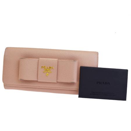 【中古】 プラダ PRADA 二つ折り 長財布 サフィアーノ リボン ピンク レザー 05EK379