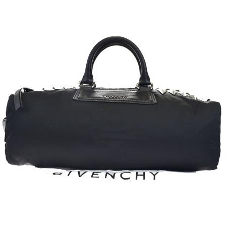 【中古】 美品 ジバンシー GIVENCHY ハンドバッグ スタッズ ブラック ナイロン レザー 保存袋付き 65EK234