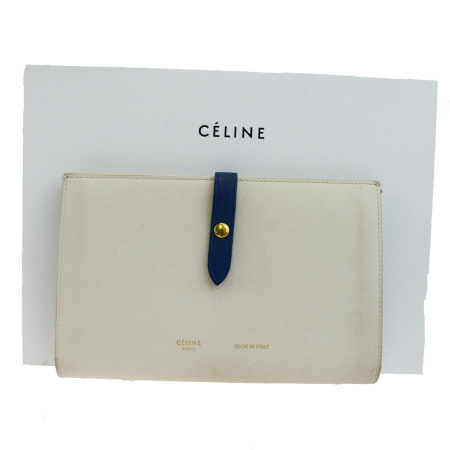 送料無料 【中古】 セリーヌ CELINE 二つ折り 長財布 クラッチバッグ ホワイト ネイビー レザー 保存箱付き 66EK421