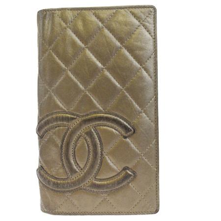 送料無料 【中古】 シャネル CHANEL カンボン 二つ折り 長財布 ココマーク キルティング ゴールド レザー 04EK437