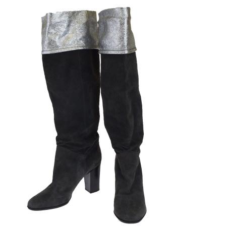 【中古】 シャネル CHANEL ロングブーツ 靴 ココマーク グレー シルバー スエード レザー レディース 37.5C 24.5cm 85EK638