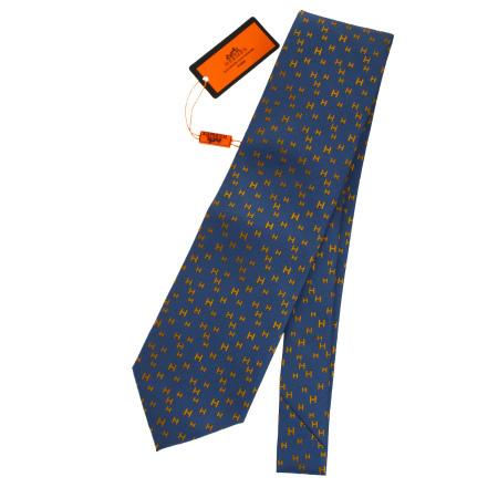 送料無料 【中古】 未使用 エルメス HERMES ネクタイ Hロゴ ネイビー オレンジ シルク 100% メンズ 05EK631