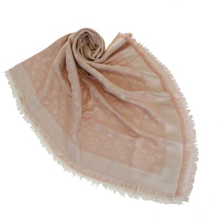 【中古】 美品 ルイヴィトン LOUIS VUITTON マフラー ストール ショール スカーフ モノグラム ピンク シルク ウール M72046 36EK592