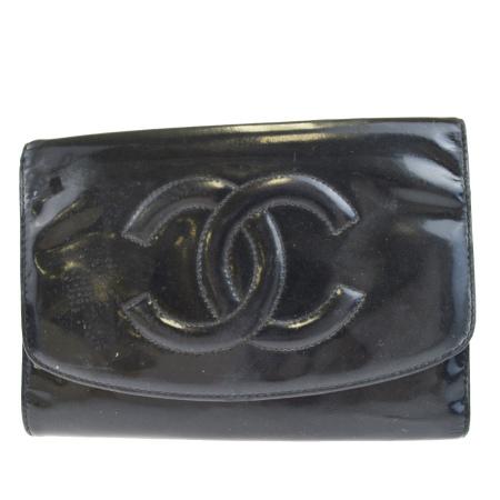 【中古】 シャネル CHANEL 三つ折り 財布 ココマーク ブラック エナメル 01EK505