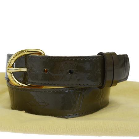 送料無料 【中古】 ルイヴィトン LOUIS VUITTON サンチュール ベルト モノグラム ヴェルニ ヴェールブロンズ エナメル 80cm M9818 04EK986
