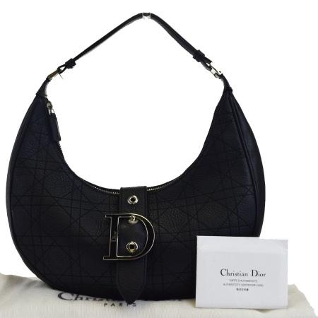 送料無料 【中古】 外美品 クリスチャンディオール Christian Dior ショルダーバッグ カナージュ ブラック レザー 保存袋付き 88EK842