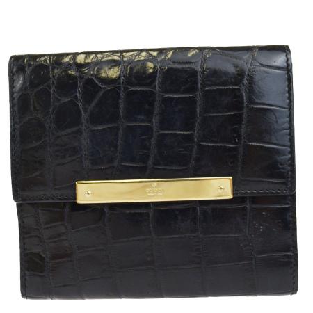 【中古】 グッチ GUCCI 三つ折り 財布 クロコダイル ブラック レザー 63EK877