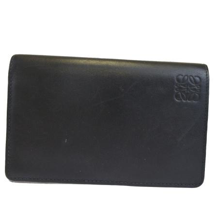 送料無料 【中古】 新型 ロエベ LOEWE 二つ折り 財布 ブラック レザー 02EK873