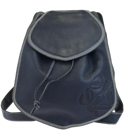 高い素材 中美品 ロエベ LOEWE リュックサック バックパック バッグ ネイビー レザー 30EK939, 表札のサインデポ 2eb59e9d