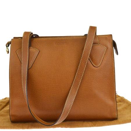 送料無料 【中古】 ロエベ LOEWE ショルダーバッグ ブラウン レザー 保存袋付き 68EK937