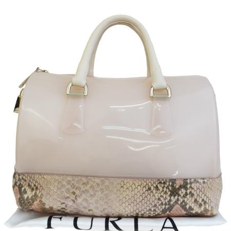 【中古】 中美品 フルラ FURLA キャンディ ハンドバッグ パイソン型押し ピンク ラバー レザー 保存袋付き 07HD924