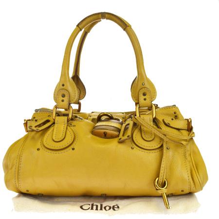 送料無料 【中古】 クロエ Chloe パディントン ショルダーバッグ ハンドバッグ オーカー レザー パドロック 保存袋付き 05EJ652