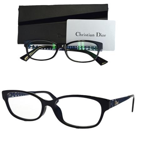 【中古】 超美品 クリスチャンディオール Christian Dior カナージュ メガネフレーム ブルー ブラック プラスチック ケース付き 09EK177