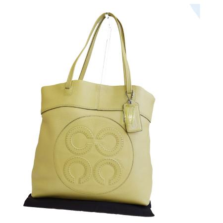 【中古】 コーチ COACH オプアート トートバッグ ショルダー イエロー レザー 保存袋付き 14967 08HE067