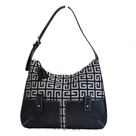 Middle Beauty Product Givenchy Shoulder Bag Fringe Black Gray Canvas Leather 02hd991