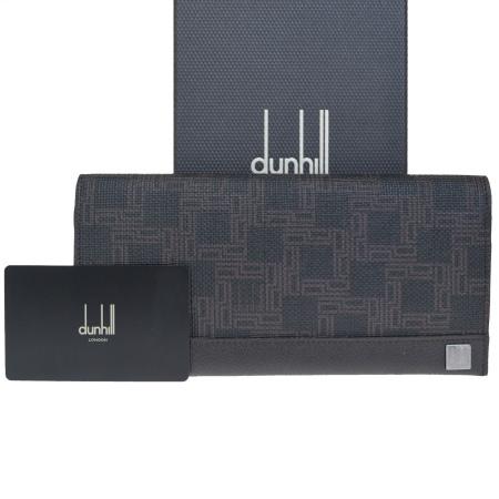 【中古】 美品 ダンヒル dunhill ディーエイト D8 二つ折り 長財布 ブラウン PVC レザー メンズ 保存箱付き 60HE231