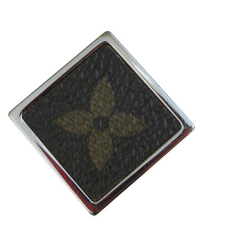 【中古】 美品 ルイヴィトン LOUIS VUITTON ピンブローチ バッジ モノグラム シルバー メタル PVC レザー M00042 07EP318