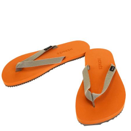 【中古】 超美品 エルメス HERMES ビーチサンダル 靴 オレンジ レディース 09EM683