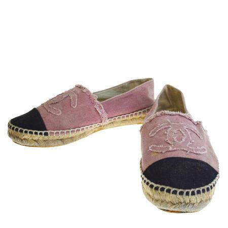 【中古】 シャネル CHANEL フラットシューズ デッキ スニーカー 靴 ココマーク ピンク ブラック キャンバス レディース 38 25cm 09EP019