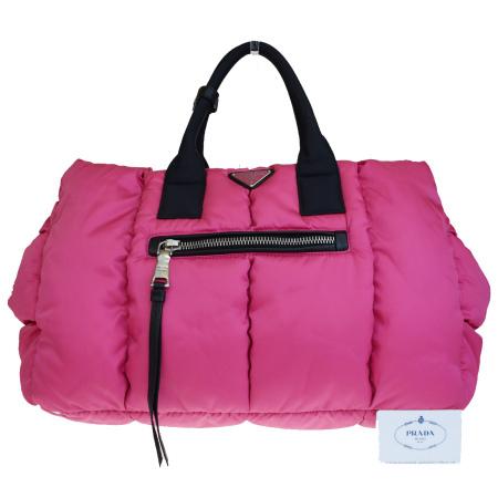 【中古】 中美品 プラダ PRADA テスート ボンバー ハンドバッグ ピンク ブラック ナイロン レザー 34EP121