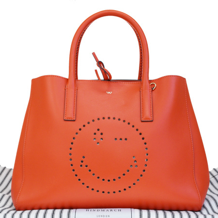 【中古】 美品 アニヤハインドマーチ ANYA HINDMARCH スマイリー ハンドバッグ トート レッド フルレザー 保存袋付き 37EP625