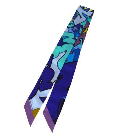 【中古】 エルメス HERMES ツイリー スカーフ ブルー シルク 100% 02EP874