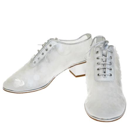 【中古】 超美品 シャネル CHANEL パンプス 靴 ココマーク スパンコール シースルー シルバー レザー レディース 37.5C 24.5cm 32EP658
