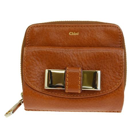 【中古】 中美品 クロエ Chloe リリー ラウンドファスナー 二つ折り 財布 リボン ブラウン レザー 08EP961