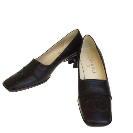 【中古】 超美品 シャネル CHANEL パンプス 靴 ココマーク ブラウン レザー レディース 39 26cm 30EP910