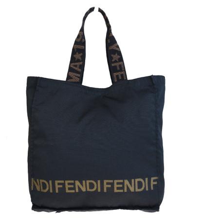【中古】 中美品 フェンディ FENDI トートバッグ ショルダー ブラック ナイロン レザー 02EQ239