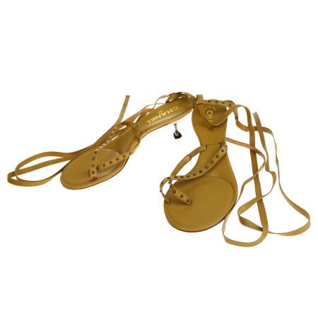 【中古】 超美品 シャネル CHANEL サンダル 靴 ベージュ レザー レディース 37.5 24.5cm 68EQ344