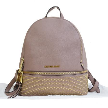 【中古】 美品 マイケルコース MICHAEL KORS リュックサック バックパック スタッズ ピンク レザー 保存袋き 68JA085