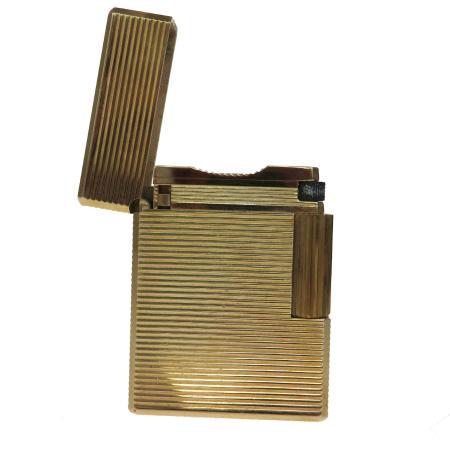 【中古】 エステーデュポン S.T.DuPont ガスライター ゴールド メタル 01JA114