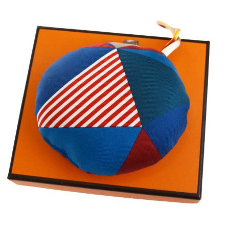 【中古】 未使用 エルメス HERMES プティアッシュ バッグチャーム キーホルダー ブルー レッド シルク 保存箱付き 04BG209